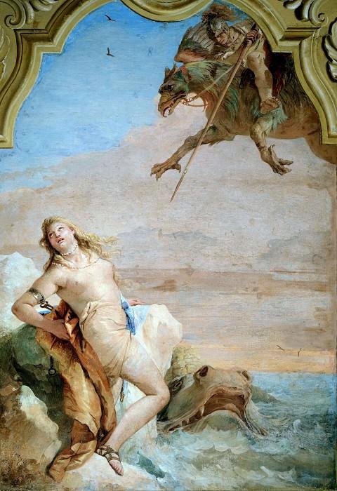 Orlando Rescues Angelica from a Monster. Giovanni Battista Tiepolo