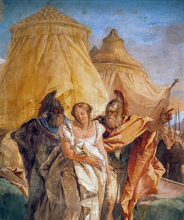 Eurybates and Talthybios Lead Briseis to Agamemmon, detail. Giovanni Battista Tiepolo