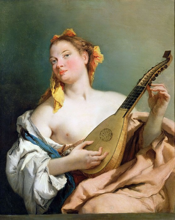 Girl with a Mandolin. Giovanni Battista Tiepolo