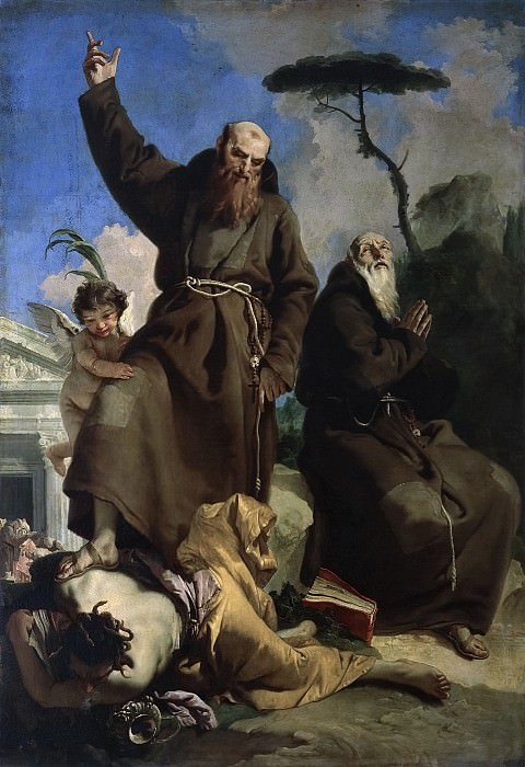 Saints Fidelis of Sigmaringen and Joseph of Leonessa trample on heresy. Giovanni Battista Tiepolo