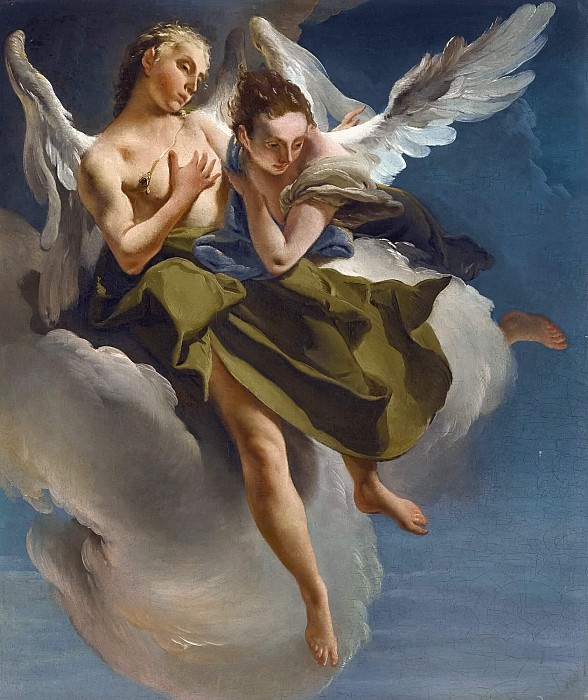 TWO ANGELS IN FLIGHT. Giovanni Battista Tiepolo