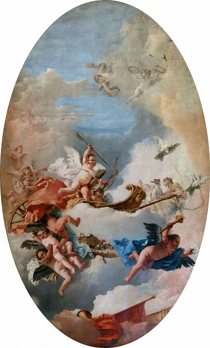 The chariot pulled by love doves. Giovanni Battista Tiepolo