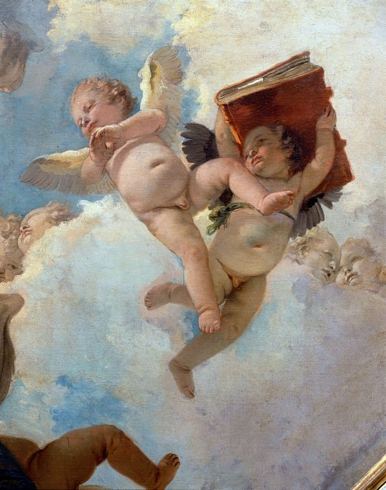 Angel with scrolls and putti taking the book detail. Giovanni Battista Tiepolo