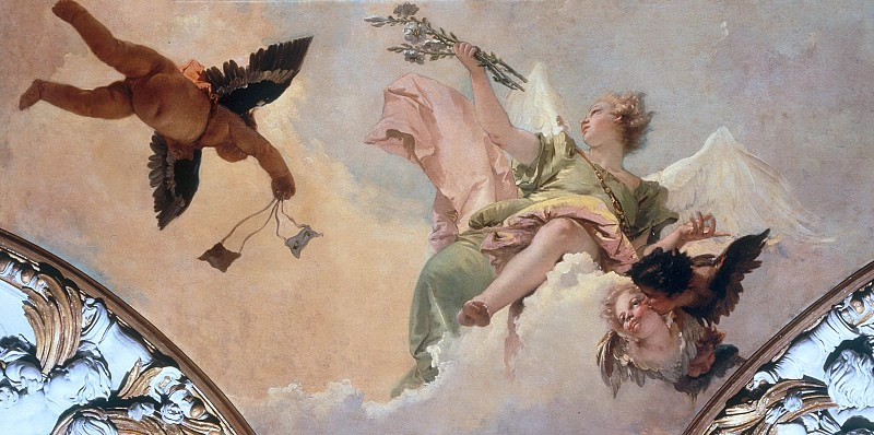 Angel with lily and a putto handing the scapular. Giovanni Battista Tiepolo