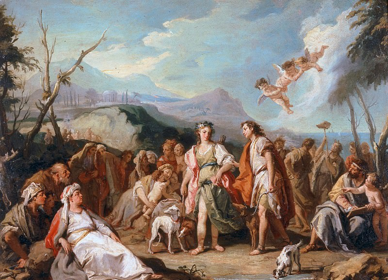 The meeting of Anthia and Abrokomes at the festival of Diana. Giovanni Battista Tiepolo