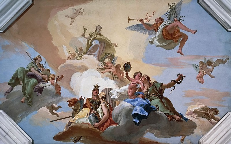 Glory among the virtues justice, fortitude, temperance and prudence. Giovanni Battista Tiepolo
