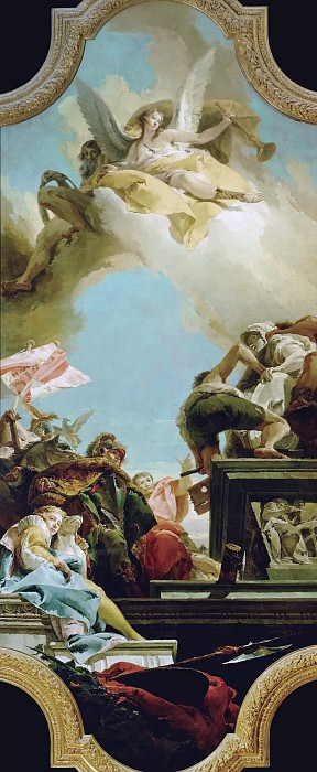 The statue of an emperor is set up. Giovanni Battista Tiepolo