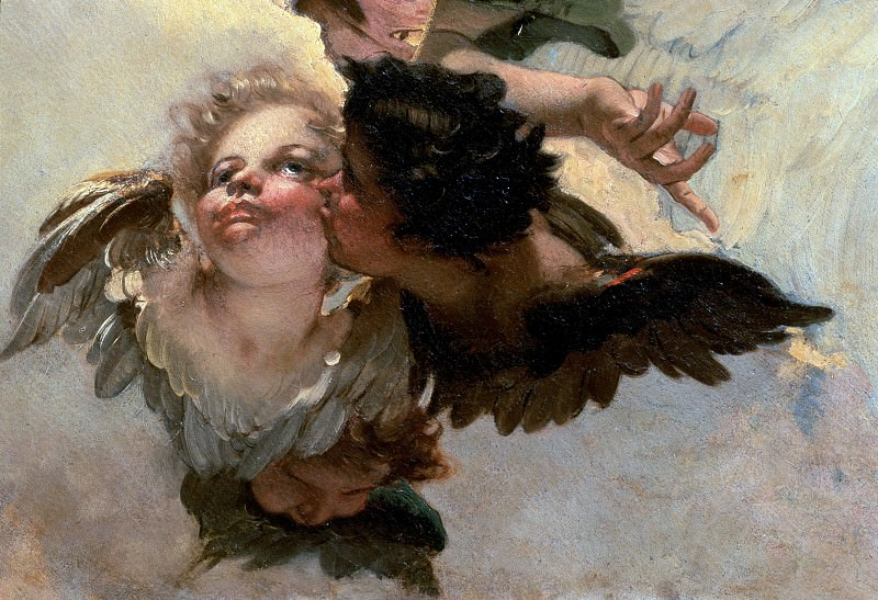 Angel with lily and a putto handing the scapular, detail. Giovanni Battista Tiepolo