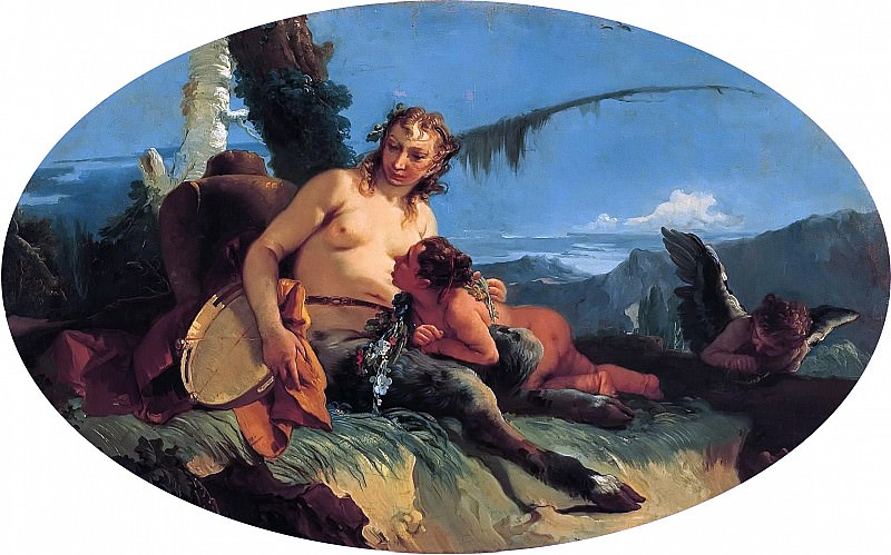 Female Satyr with Tambourine and a Putto. Giovanni Battista Tiepolo
