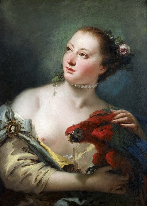 A young Woman with a Parrot. Giovanni Battista Tiepolo