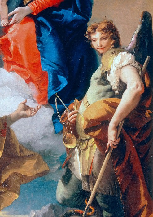 Virgin with child, St. Catherine and archangel Michael, detail. Giovanni Battista Tiepolo