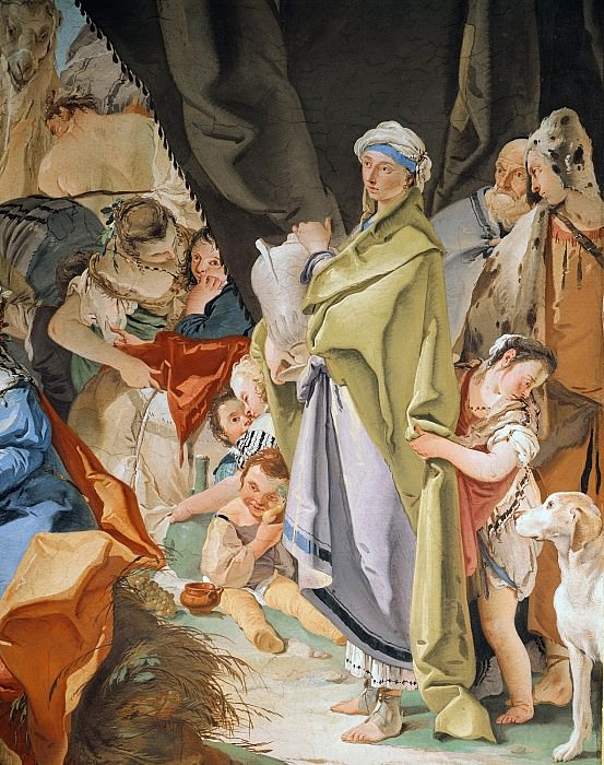 Laban searches for the images of gods, hidden by Rahel, detail. Giovanni Battista Tiepolo