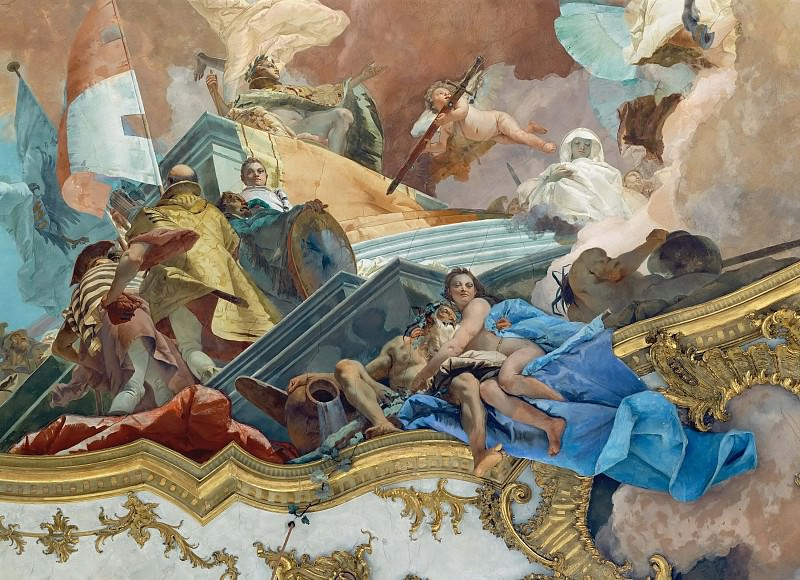 Apollo leads Beatrice of Burgundy as bride to Emperor Frederick Barbarossa, detail - Putto with Imperial Sword. Giovanni Battista Tiepolo