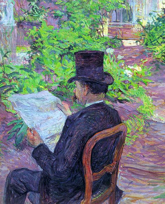 Toulouse-Lautrec Desire Dihau Reading a Newspaper in the Gar. Henri De Toulouse-Lautrec