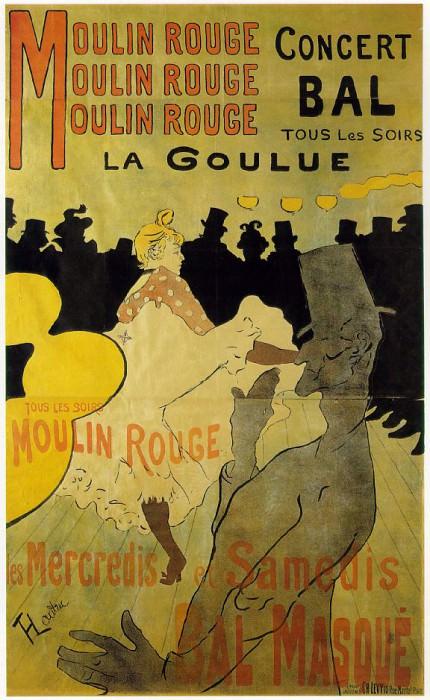 Toulouse-Lautrec Moulin Rouge La Goulue, lithografie, 1891,. Henri De Toulouse-Lautrec