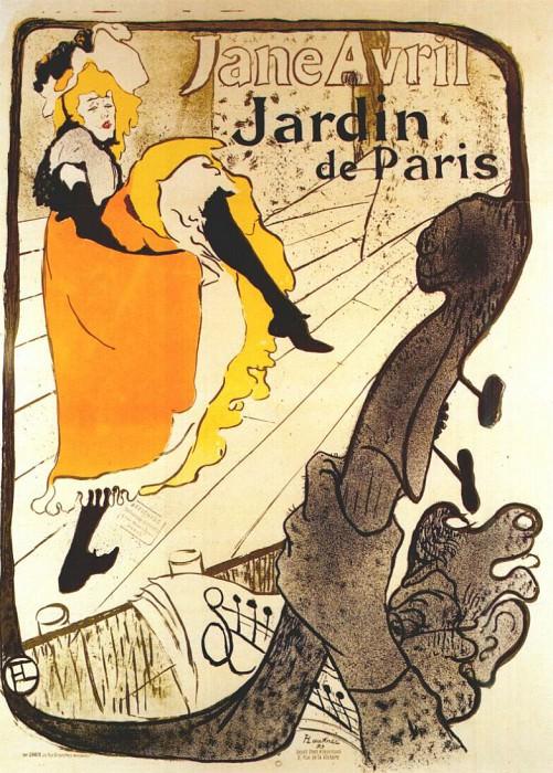lautrec jane avril at the jardin de paris (poster) 1893. Henri De Toulouse-Lautrec