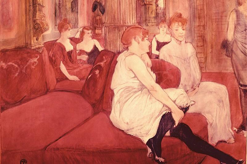 In the Salon at the Rue des Moulins, Toulouse-Lautrec - 1600. Henri De Toulouse-Lautrec