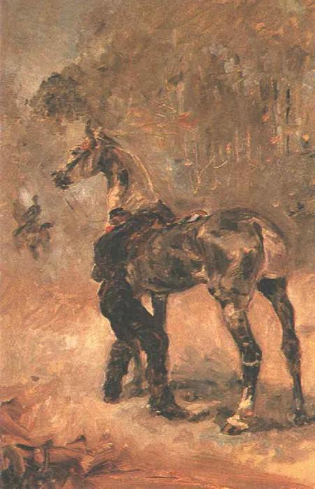 Toulouse-Lautrec Artilleryman Saddling a Horse, 1879, T.-L.-. Анри де Тулуз-Лотрек