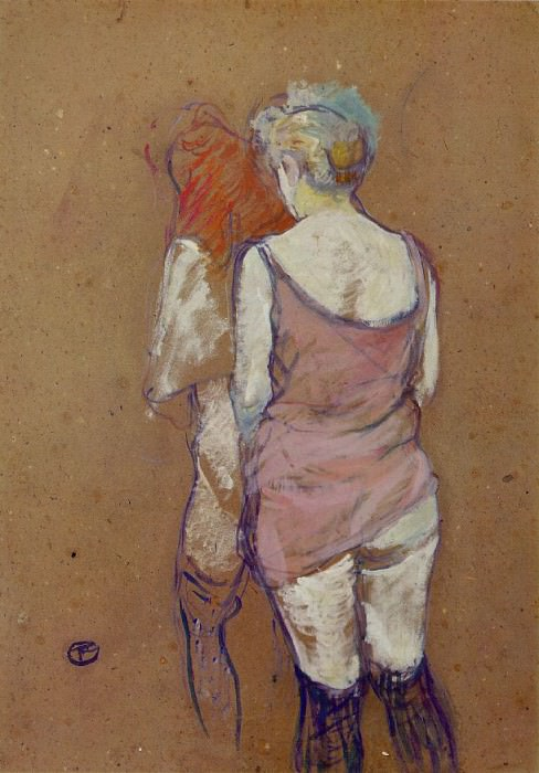 Toulouse-Lautrec Two Half-Naked Women Seen from behind in th. Henri De Toulouse-Lautrec