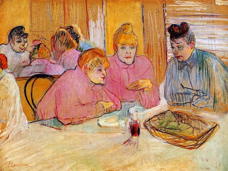 Toulouse-Lautrec de Henri Diningroom in brothel Sun. Henri De Toulouse-Lautrec