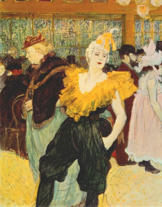 lautrec the clownesse cha-u-kao at the moulin rouge 1895. Henri De Toulouse-Lautrec