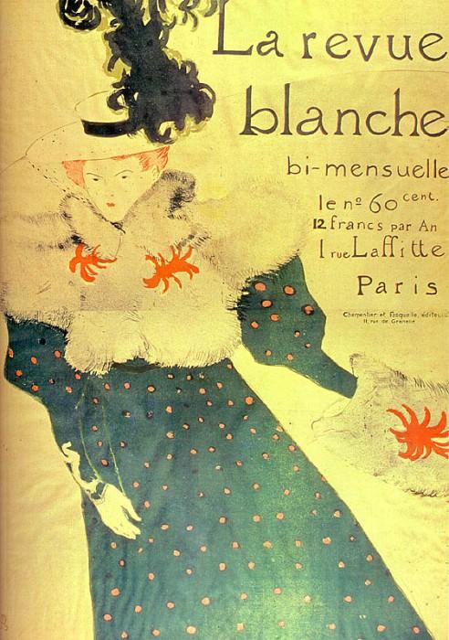 Toulouse-Lautrec La Revue Blanche, 1895, chalk lithography,. Henri De Toulouse-Lautrec