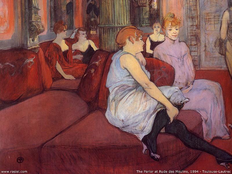 1894 - Henri Toulouse Lautrec - The parlor at rude des Moulines. Анри де Тулуз-Лотрек