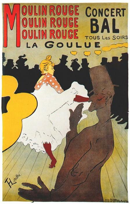 lautrec moulin rouge, la goulue (poster) 1891. Henri De Toulouse-Lautrec