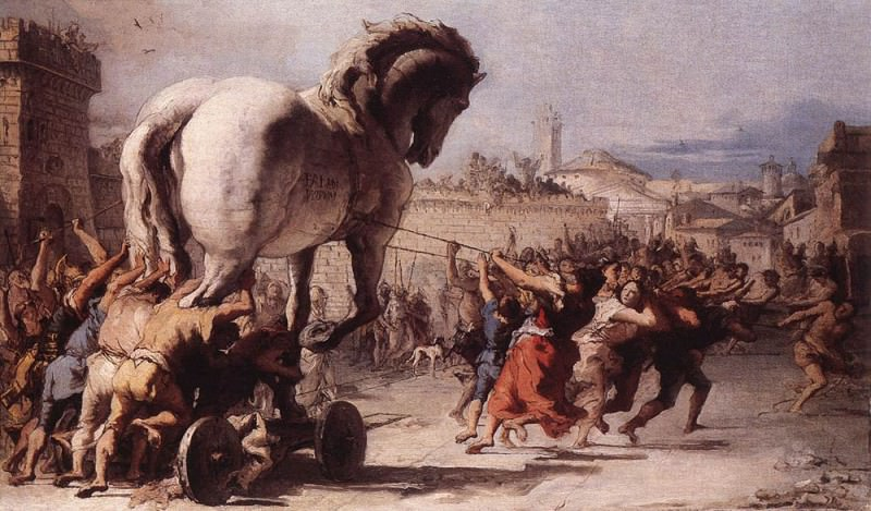 TIEPOLO Giovanni Domenico The Procession Of The Trojan Horse In Troy. Джованни Доменико Тьеполо
