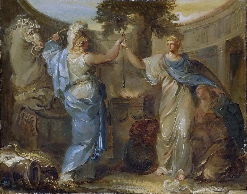 Allegory. Sweden, Finland and Mars, the God of War. Louis Adrien Masreliez