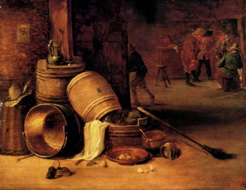 Teniers David An Interior Scene With Pots Barrels Baskets Onions And Cabbages. David II Teniers