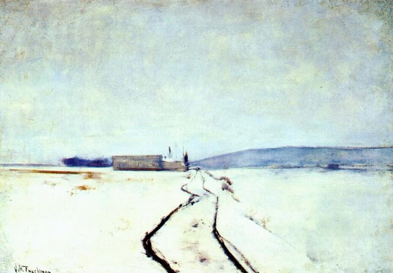 twachtman along the river, winter c1887-8. John Henry Twachtmann