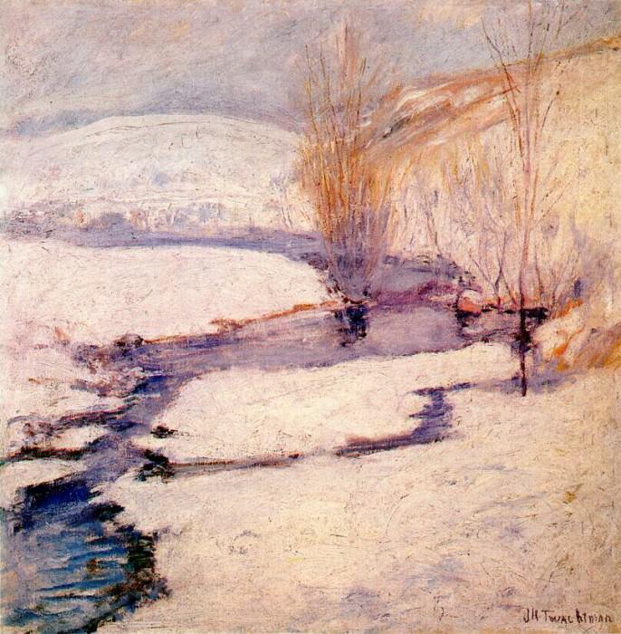 twachtman winter landscape c1891. John Henry Twachtmann