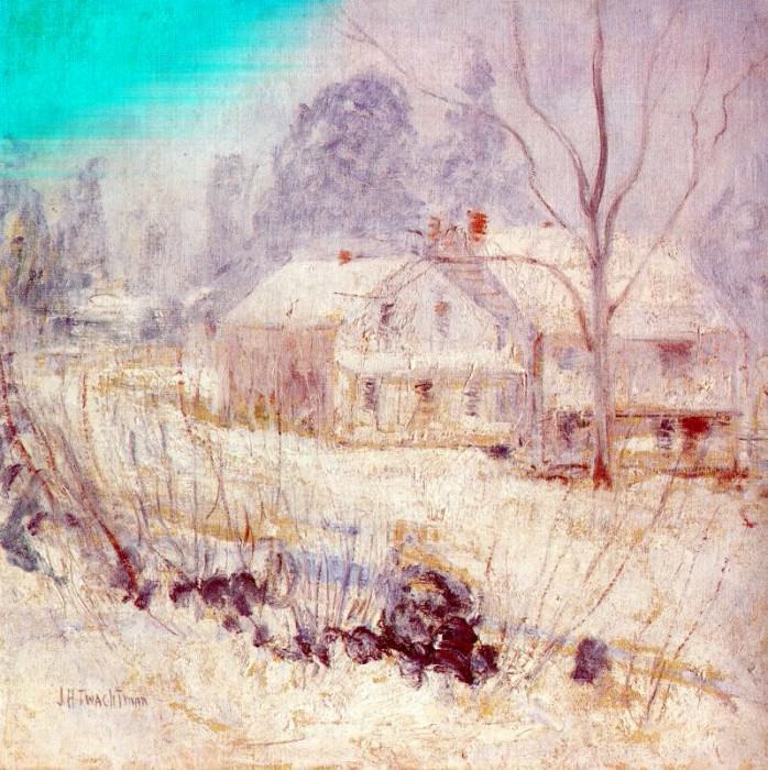twachtman country house in winter (cos cob) c1901. Джон Генри Твахтман