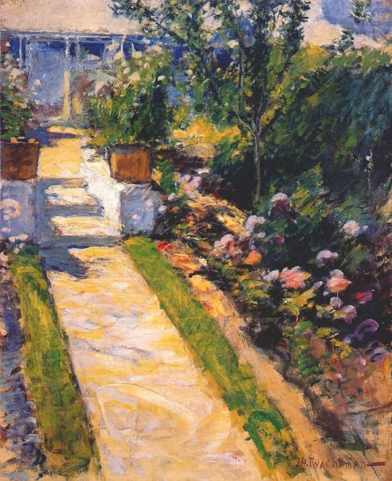 twachtman in the garden c1895-1900. John Henry Twachtmann
