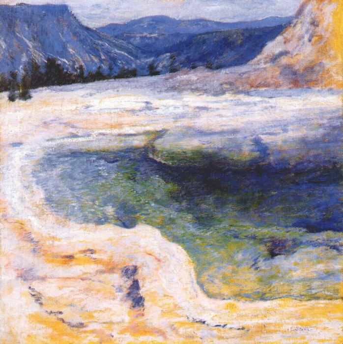 twachtman emerald pool (yellowstone) c1895. John Henry Twachtmann