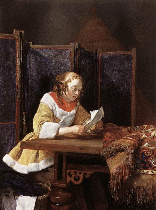 A Lady Reading A Letter. Gerard Terborch