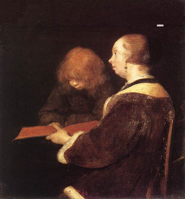 The Reading Lesson. Gerard Terborch