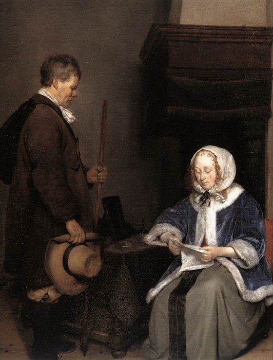Lady Reading A Letter detail. Gerard Terborch