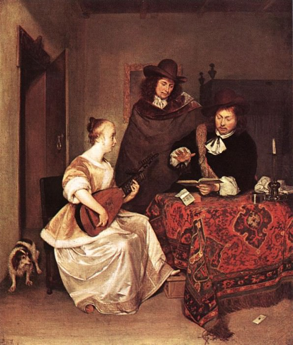 A Young Woman Playing A Theorbo To Two Men. Gerard Terborch