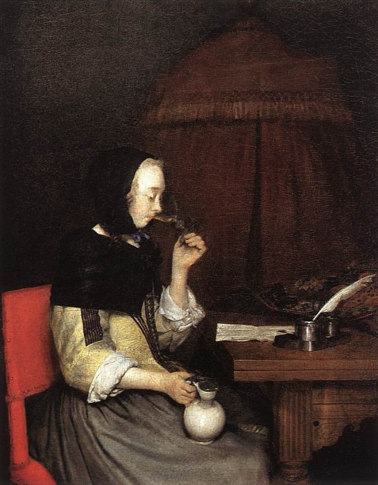 Woman Drinking Wine. Gerard Terborch