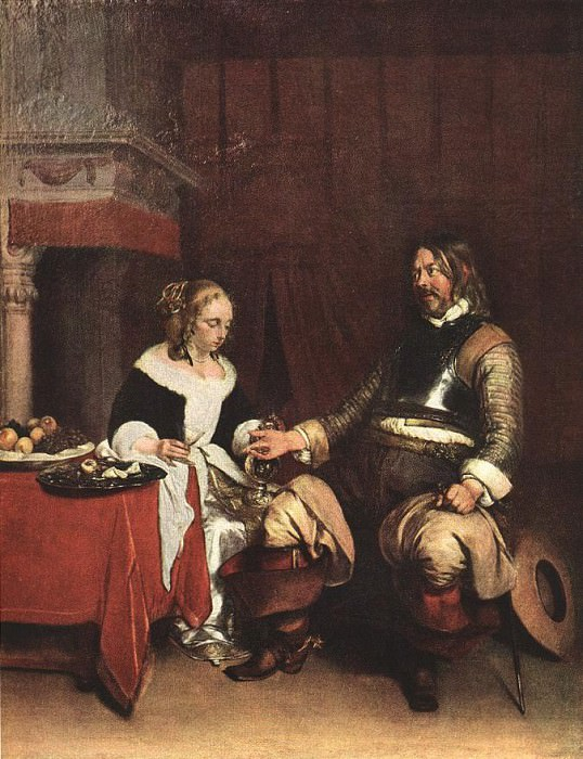 Man Offering a Woman Coins WGA. Gerard Terborch