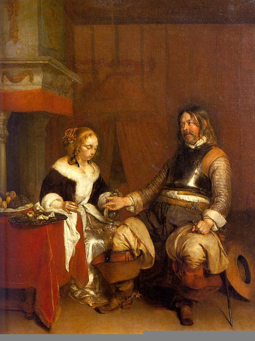 SOLDIER OFFERING A YOUNG WOMAN COINS, LOUVRE. Gerard Terborch