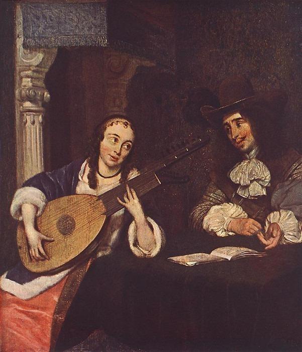 Woman Playing the Lute WGA. Герард Терборх