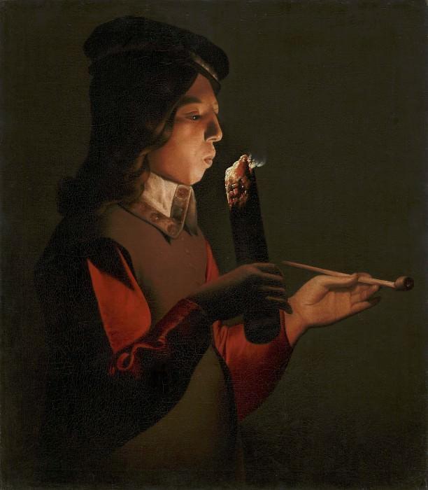 Юноша, раздувающий огонь (Курильщик). Жорж де Латур