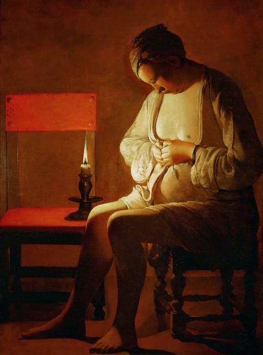 Женщина, ловящая блоху. Жорж де Латур