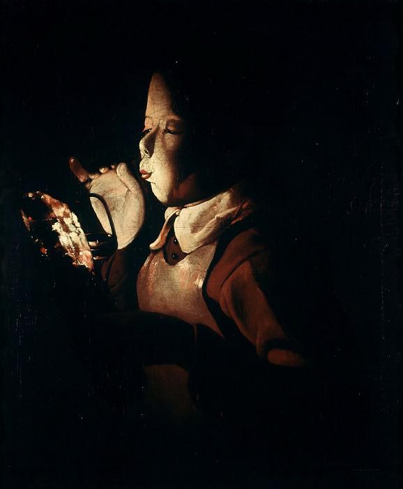 Мальчик, зажигающий лампу. Жорж де Латур