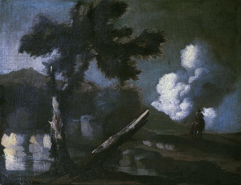 Пейзаж с озером, деревом и всадником. Карло Антонио Тавелла