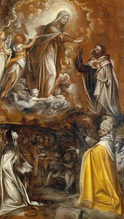 Богородица передает скапуляр Сен-Симону Штоку в присутствии Святых Екатерины Сиенской и Григория Великого и отца Заккарии Бергомелли. Талпино (Энеа Салмеджиа)