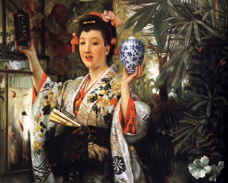 Young Lady Holding Japanese Objects. Jacques Joseph Tissot
